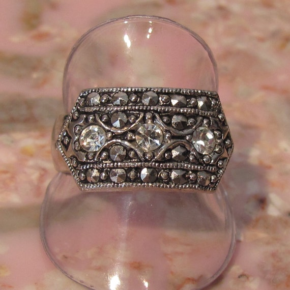 AVON Silvertone CZ and Faux Marcasite Ring - Size 7 - WIDE band