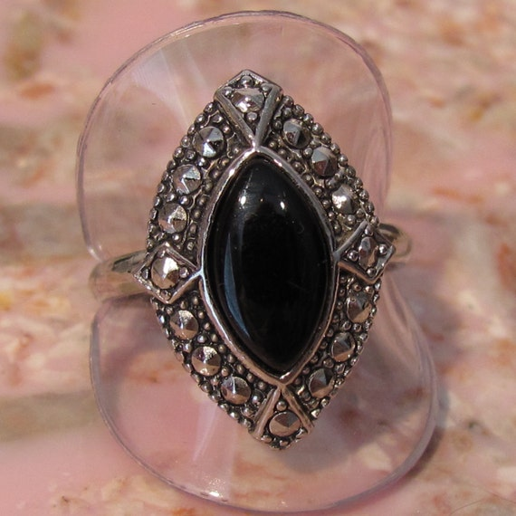 AVON Silvertone Black Onyx and Faux Marcasite Ring - Size 8