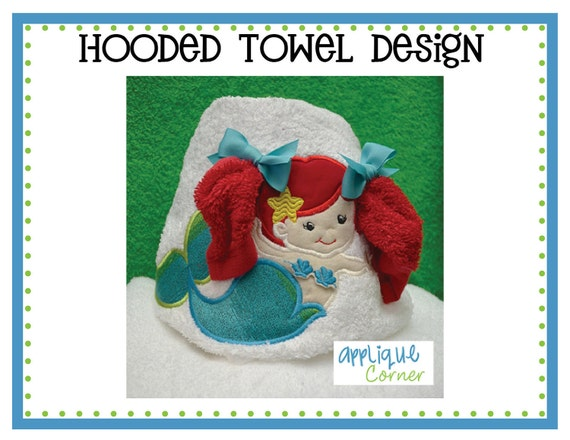 038 Mermaid Girl with Pig Tails applique for towels digital design for embroidery machine by Applique Corner
