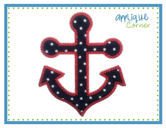 525 Nautical Anchor with Special Rope Stitch applique digital design for embroidery machine by Applique Corner