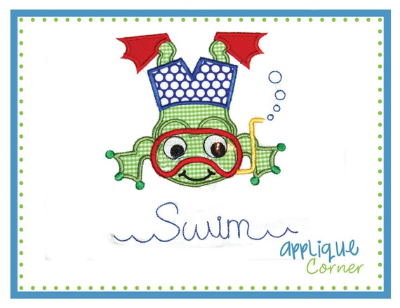 545 Frog Swim Boy With Vinyl Applique Digital Design For