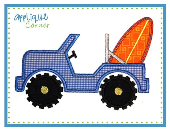 Jeep with surf board applique digital by