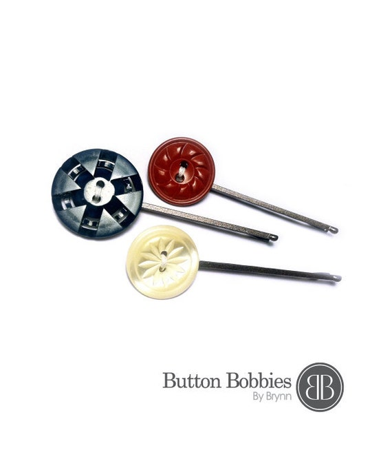 Star Spangled / Set of 3 Button Bobbies / Hair Clips / Red, White, Blue / Patriotic