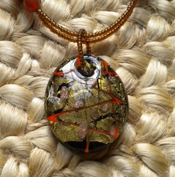Lampwork pendant necklace with glass and carnelian beads