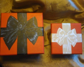 hand painted red, black and cream Wood gift boxes with hand painted bows, set of 2
