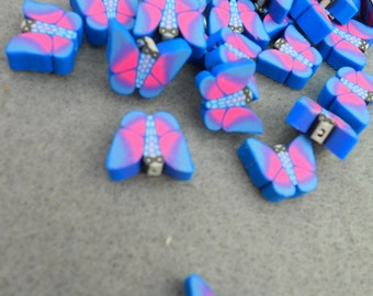 Polymer Clay Butterflies, Blue, Purple and Hot Pink, Striking Colors, 50 pieces