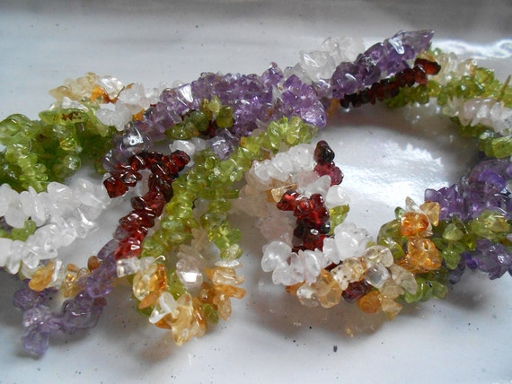 "Gorgeous Gemstone Chip Bead Mix, Quartz Crystal, Peridot, Citrine,Garnet, Amethyst, 32"" Strand"