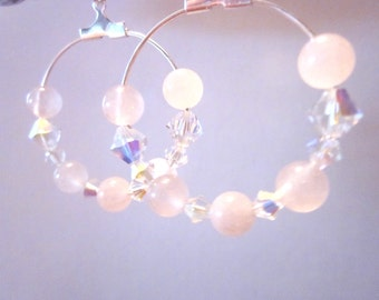Sparkle for a Cause, St Judes. Hoop Earrings, Rose Quartz Gemstone and Swarovski Crystals, summer jewelry,jewelry for charity