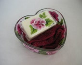 Handpainted Pink Rose Heart Dish Soap and Washcloth