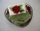 Handpainted Red Rose Heart Dish Soap and Washcloth
