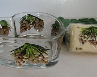 Handpainted Pinecone Heart Dish Soap and Washcloth