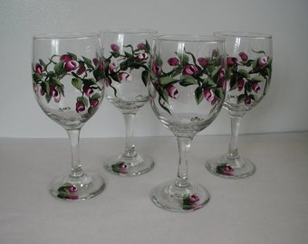 Four Handpainted Rosebud Wine Glasses