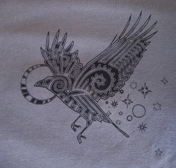 Spirit Crow in Black Screen Printed on Charcoal Super Soft Thin T-shirt