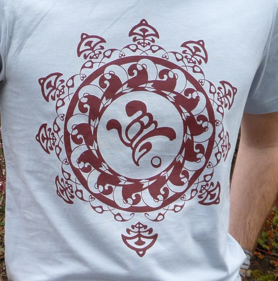 SALE - Art Nouveau Om Mandala Screen Printed in Rust on Light Blue Unisex 100% Cotton Tshirt
