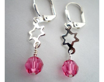 Jewish Star Earrings - silver and pink crystals