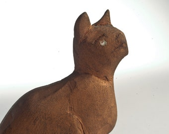 Vintage folk art cat hand-carved wooden primitive - outsider art cat
