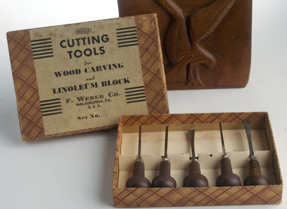 RESERVED for Kristin Wood carving and linoleum block cutting tools vintage set