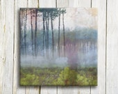 "Blue purple misty forest Canvas art print - 12""x12"""