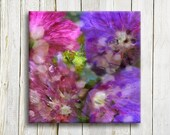 "Pink and purple flowers - Spring flowers - canvas art - 12""/12"", 30/30 cm"
