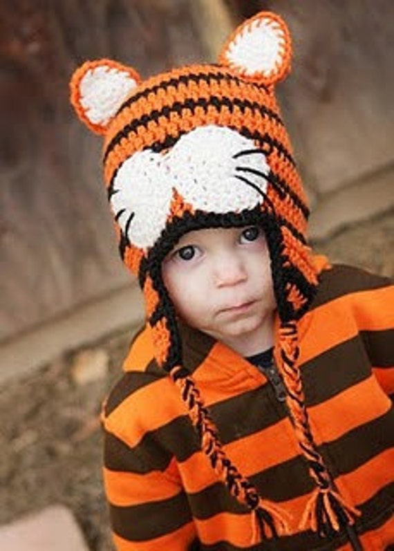 Crochet Tiger Hat with Earflaps