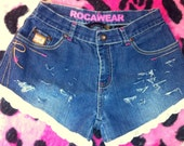 Denim Sexy Lace Blue Jeans Denim Hotpants HIGH Waisted Waist SHORTS Jrs. 14