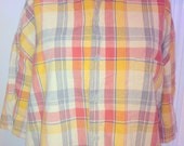 Long Sleeve U.S. Expedition Men's tshirt Size M collar shirt Plaid Orange Red Beige and Blue lines