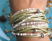 "Boho Chic Endless Pale Sage Leather Wrap Beaded Bracelet with Silver Accents....""FREE SHIPPING"""