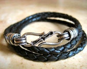 "Jet Black Braided Leather Triple Wrap Bracelet with Rope Design S Hook Silver Clasp ""FREE SHIPPING"""
