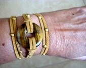 "Boho Chic Good Luck Tiger Eye Circle Triple Wrap Caramel Suede Bracelet with Gold Accents....""FREE SHIPPING"""