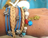 "Boho Chic Endless Turquoise Leather 3x Wrap Beaded Hamsa Evil Eye Bracelet with Silver Magnetic Clasp...""FREE SHIPPING"""