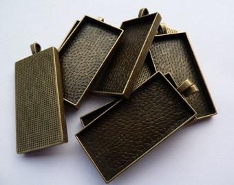 10 x Rectangle antique bronze pendant trays - blank bezel cabochon setting