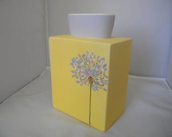 yellow and lavender square vase