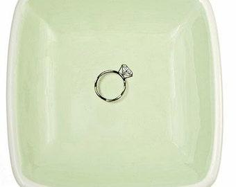mint green diamond ring tray