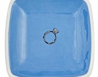 lake blue ceramic diamond ring tray