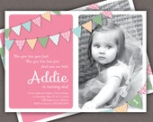 First Birthday Invitation Bunting Flags Banner Photo Printable Invite - 1 Year Old or 2 Year Old - Second Birthday - Pink - Any Color