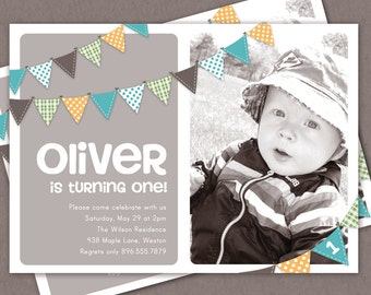 Boy First Birthday Invitation Bunting Flags Banner Photo Printable Invite - 1 Year Old or 2 Year Old - Second Birthday