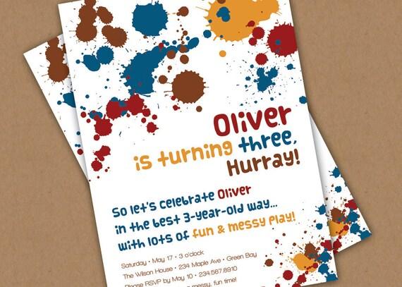 Messy Birthday Party Invitation Custom Printable - Sensory Play Party - Paint - Mud - Girl or Boy - Custom Colors Available