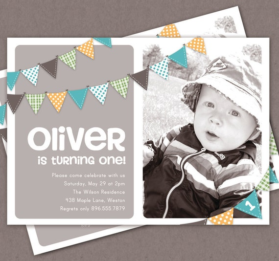 Boy First Birthday Invitation Bunting Flags Banner Photo