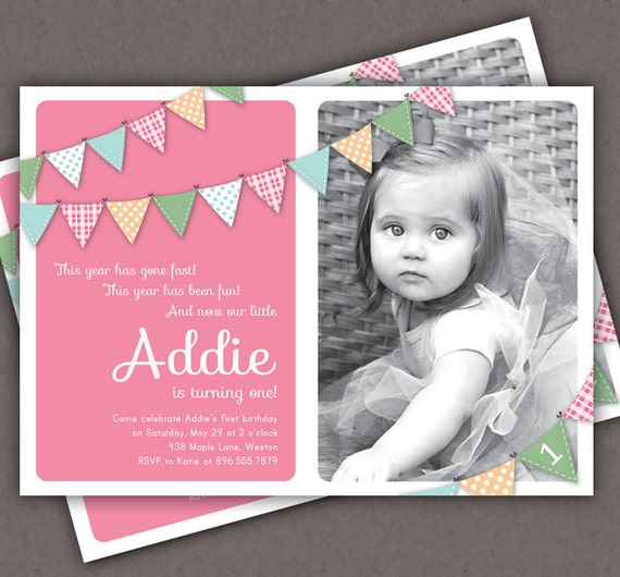 First birthday invitation bunting flags banner photo printable il570xn filmwisefo