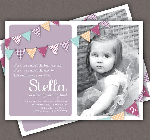 First Birthday Invitation Bunting Flags Banner Photo Printable - Birthday invitation message for 2 year old