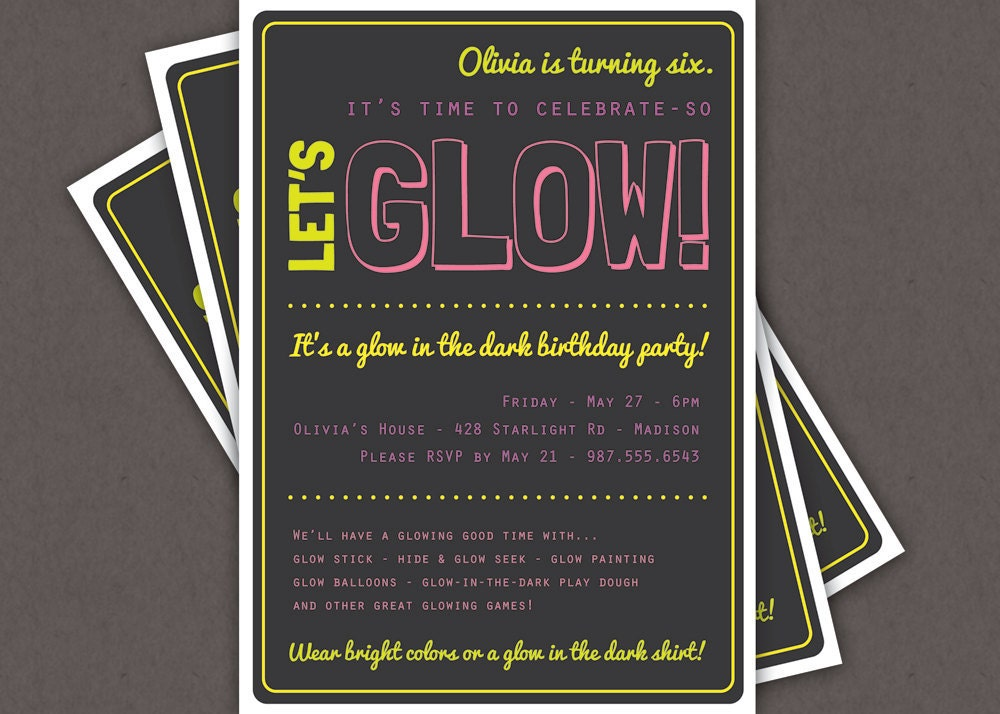 Printable Glow In The Dark Party Invitations is nice invitation layout