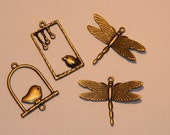 Birds and Dragon Fly Copper Brass Pendant Charms Set of 4