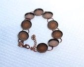 Copper Bracelet with Blank Bezels for Cabachon or Resin