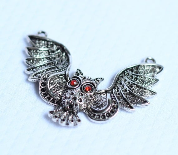 Large Owl Pendant with Red crystal Eyes Steampunk Goth Animals