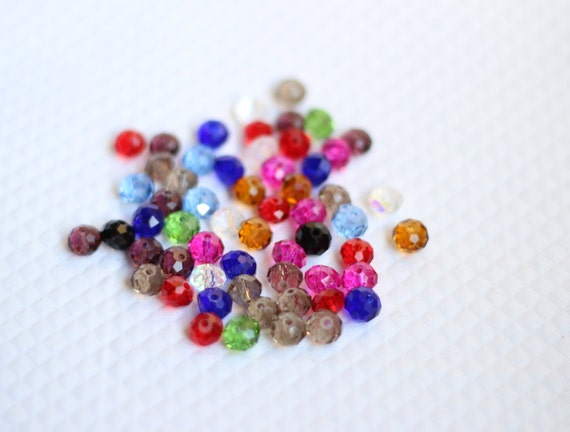 8mm Mixed Color Czech Glass Faceted Rondelle Beads