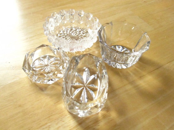 A Set of Four Salt Cellars for an Instant Collection - glass - delicate - collectible - unique