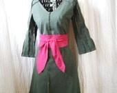 Systematik Dress Medium - Handmade V Neck Dress - army green