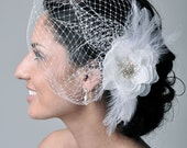 KAT Hair Accessories Veil Bridal Fascinator Birdcage Veil --Birdcage Veil with Beaded Flower & Feathers for Wedding from Camilla Christine