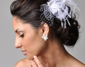 LYDON Hair Accessories Bridal Fascinator Wedding Hair Accessory-- Feather, Lace, Netting & Pearl Hair Fascinator Comb from Camilla Christine