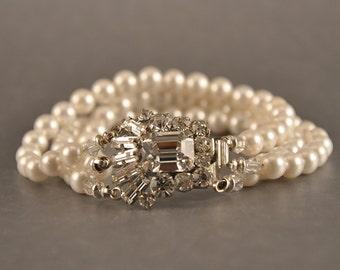Bridal Jewelry Wedding Bracelet, Multi-Strand Swarovski Pearl & Crystal Art Deco Brooch Vintage Rhinestone Clasp, Camilla Christine REBECCA